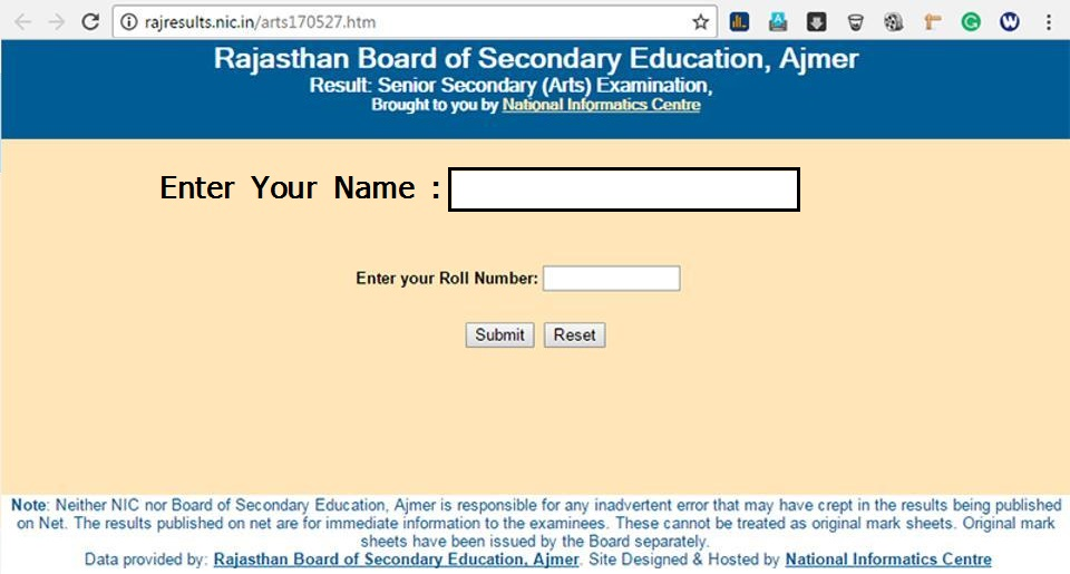 RBSE 10th Result 2020 Name Wise Result Rajasthan Board 10th Results